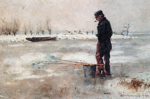 Cornelis Vreedenburgh - Fisher On The Ice