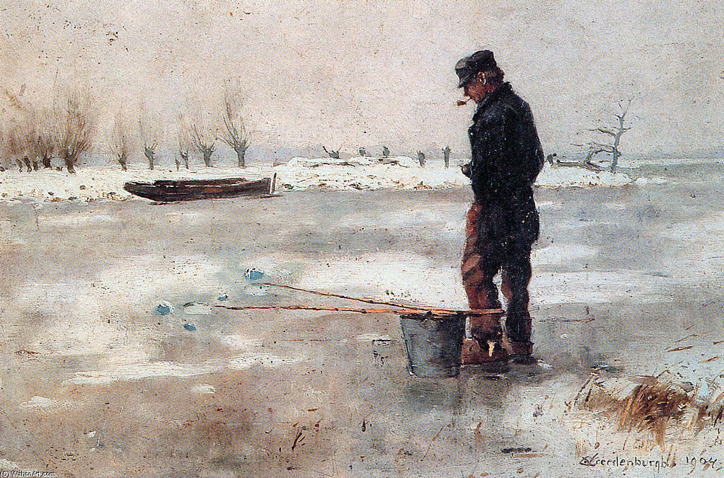 Fisher On The Ice by Cornelis Vreedenburgh (1880-1946, Netherlands) | Painting Copy | WahooArt.com