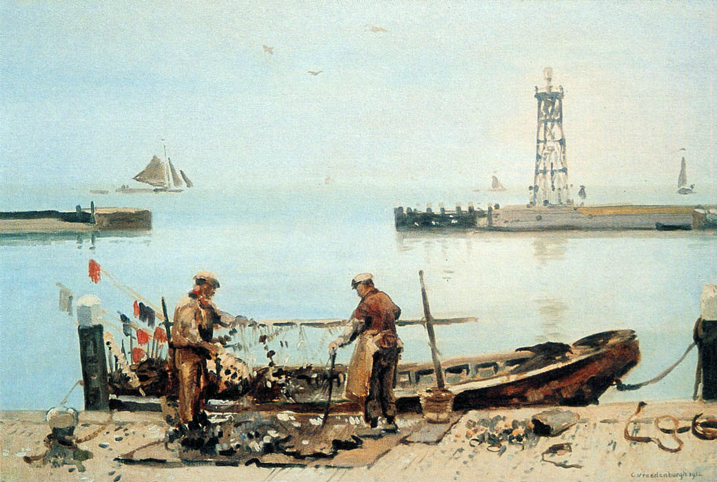 Fishermen by Cornelis Vreedenburgh (1880-1946, Netherlands)