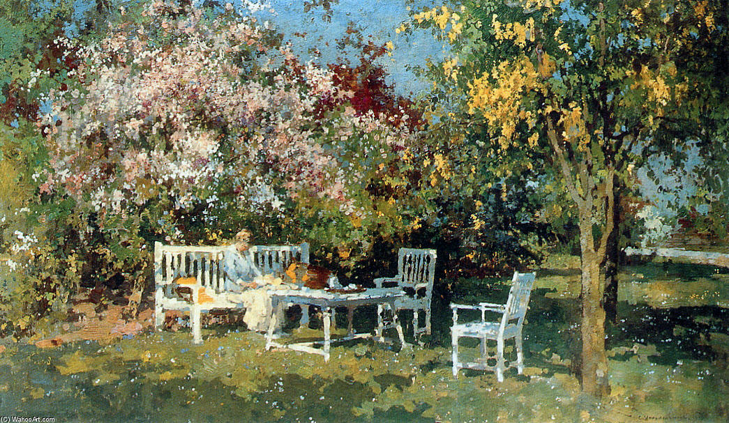 Garden With Blossoming Trees by Cornelis Vreedenburgh (1880-1946, Netherlands) | Oil Painting | WahooArt.com