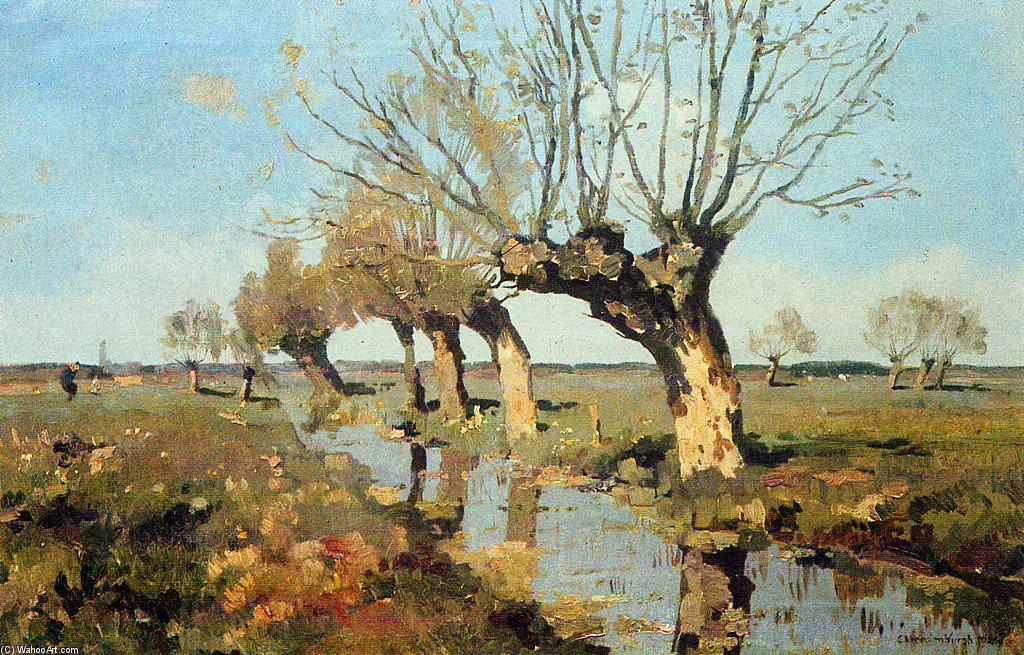 Pollard Willow At The Side Of The Broo by Cornelis Vreedenburgh (1880-1946, Netherlands) | Painting Copy | WahooArt.com