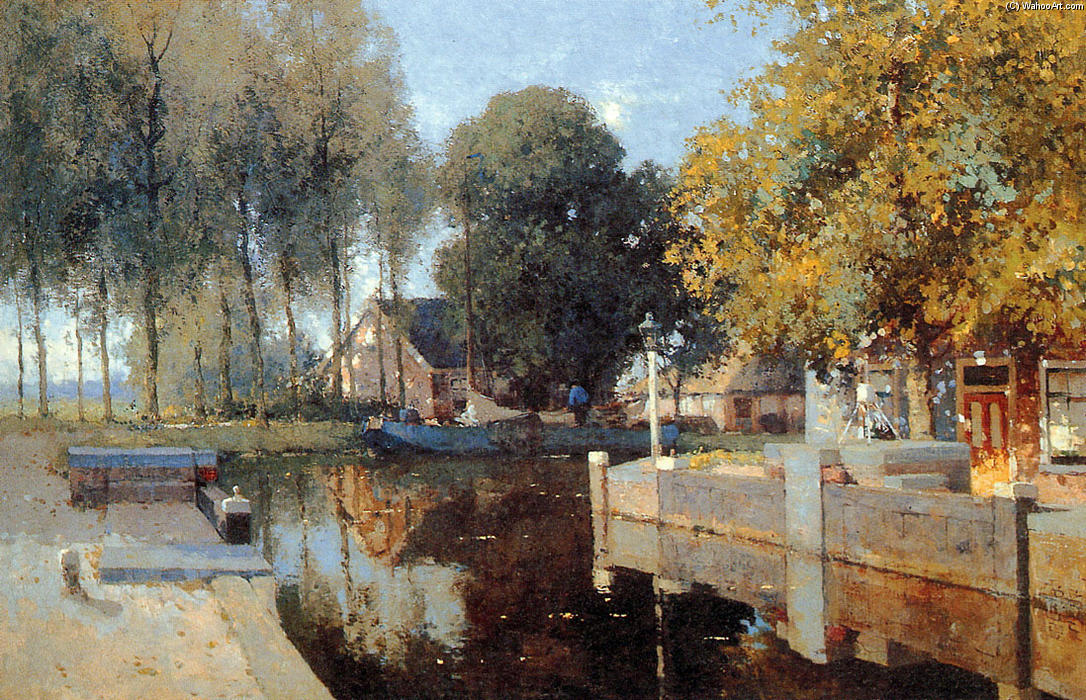 Sluice Of Woerdense Verlaat by Cornelis Vreedenburgh (1880-1946, Netherlands) | Paintings Reproductions Cornelis Vreedenburgh | WahooArt.com