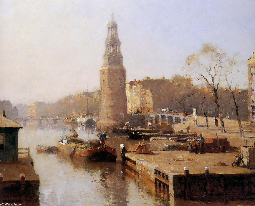 The Montelbaanstoren by Cornelis Vreedenburgh (1880-1946, Netherlands) | Oil Painting | WahooArt.com