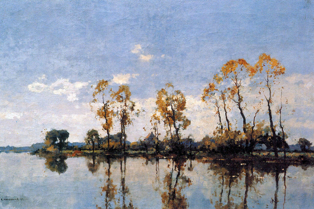 Buy Museum Art Reproductions | Trees At The Waal by Cornelis Vreedenburgh (1880-1946, Netherlands) | WahooArt.com