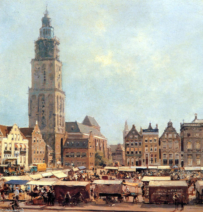 View On Market In Groningen by Cornelis Vreedenburgh (1880-1946, Netherlands) | Famous Paintings Reproductions | WahooArt.com