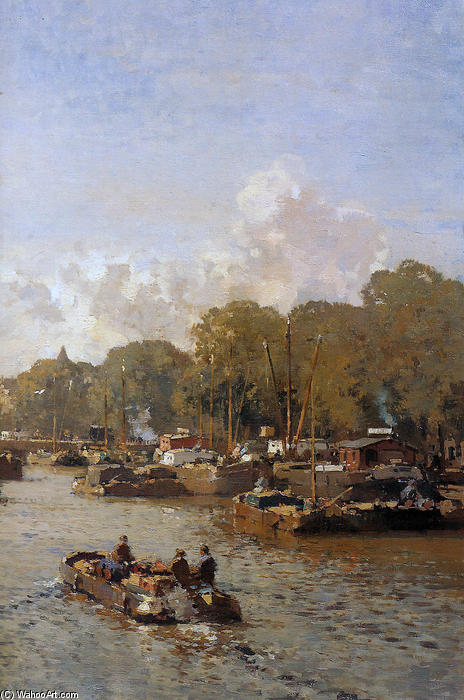 View on the Amstel by Cornelis Vreedenburgh (1880-1946, Netherlands)