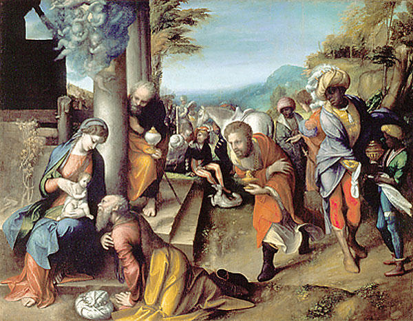 Adoration of the Magi, Oil On Canvas by Antonio Allegri Da Correggio (1489-1534, Italy)