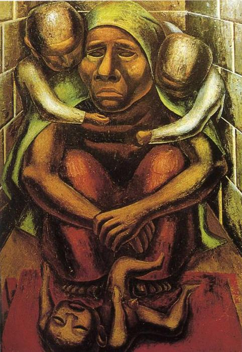 Proletarian mother oil by david alfaro siqueiros 1896 for Mural siqueiros
