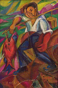 David Burliuk - Japan fisherman