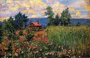David Davidovich Burliuk - Landscape with a Pink House