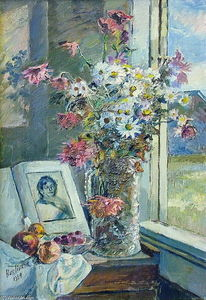 David Davidovich Burliuk - Vase with flowers and book by the window