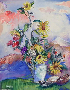 David Davidovich Burliuk - Flowers and Seashells in a Mountain Landscape