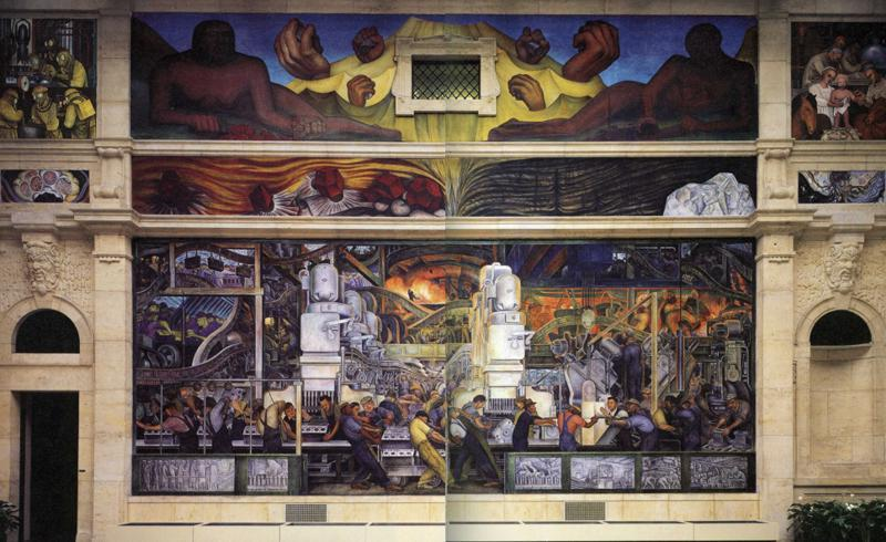 Detroit industry north wall frescoes by diego rivera for Diego rivera mural detroit
