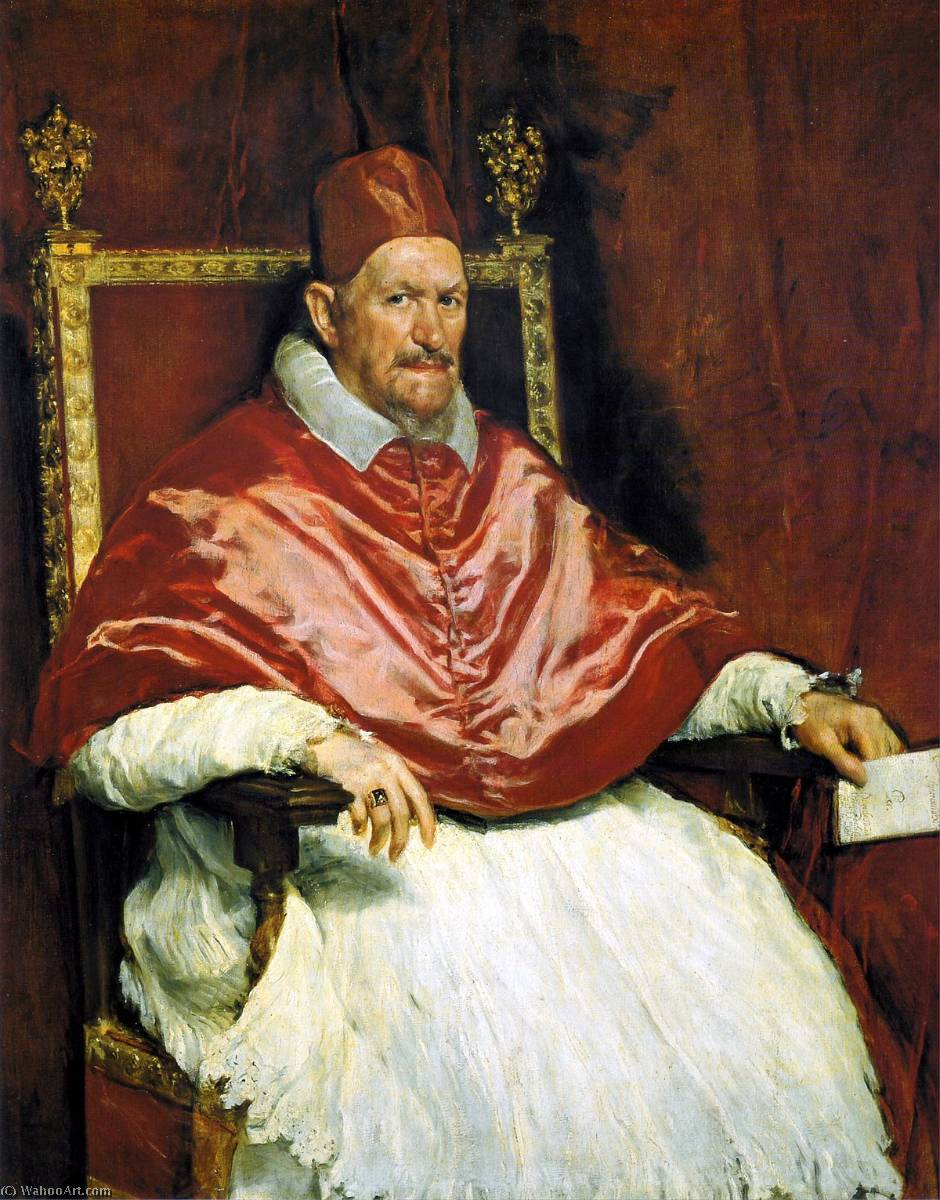 Portrait of Pope Innocent X, Oil On Canvas by Diego Velazquez (1599-1660, Spain)