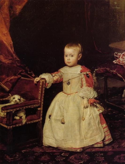 Prince Philip Prosper, Son of Philip IV, Oil On Canvas by Diego Velazquez (1599-1660, Spain)