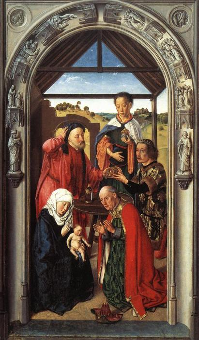 The middle panel of The Pearl of Brabant: Adoration of the Magi, Oil by Dierec Bouts