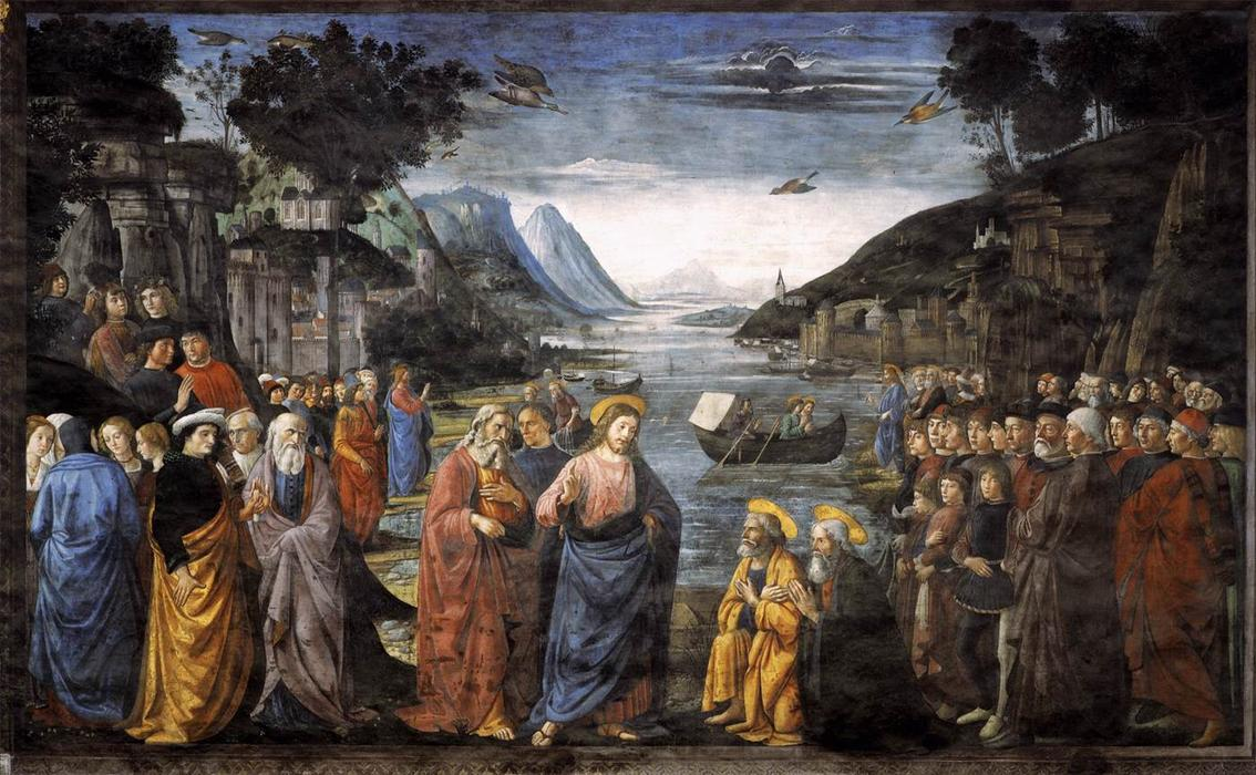 The Calling of St. Peter and St. Andrew, Frescoes by Domenico Ghirlandaio (1449-1494, Italy)