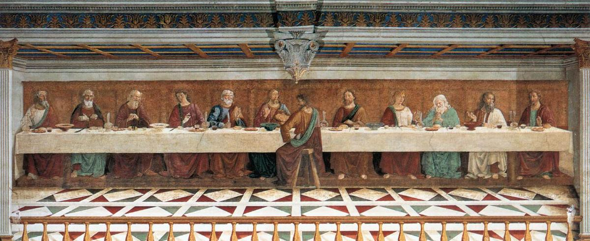 Last Supper, 1486 by Domenico Ghirlandaio (1449-1494, Italy) | Museum Quality Reproductions | WahooArt.com