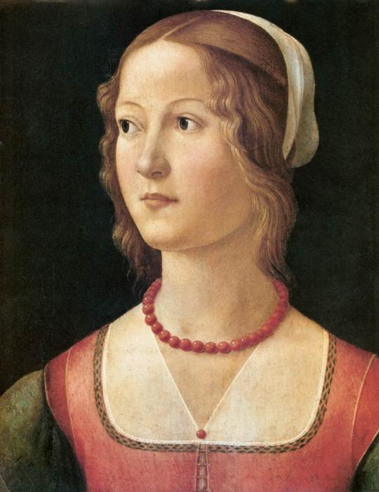 Portrait of a Young Woman by Domenico Ghirlandaio (1449-1494, Italy) | Oil Painting | WahooArt.com