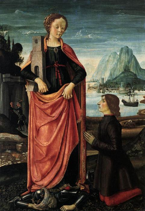St. Barbara Crushing Her Infidel Father, 1473 by Domenico Ghirlandaio (1449-1494, Italy)