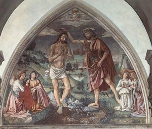 Order Museum Quality Reproductions : Baptism of Christ, 1473 by Domenico Ghirlandaio (1449-1494, Italy) | WahooArt.com