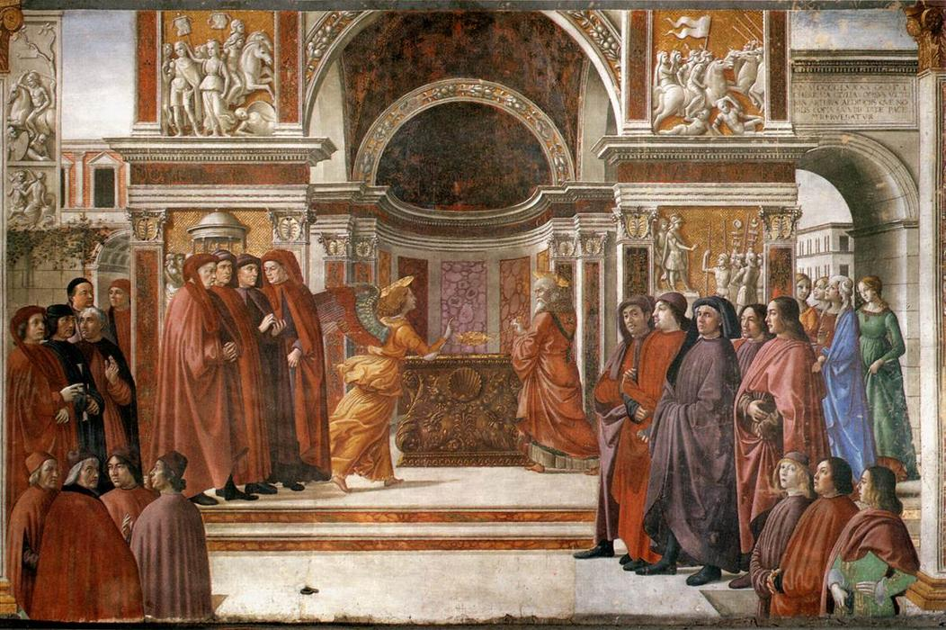 Angel Appearing to Zacharias, Frescoes by Domenico Ghirlandaio (1449-1494, Italy)