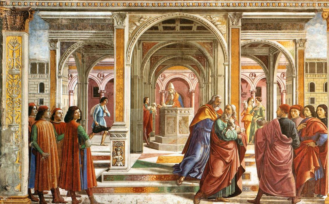 Expulsion of Joachim, Frescoes by Domenico Ghirlandaio (1449-1494, Italy)