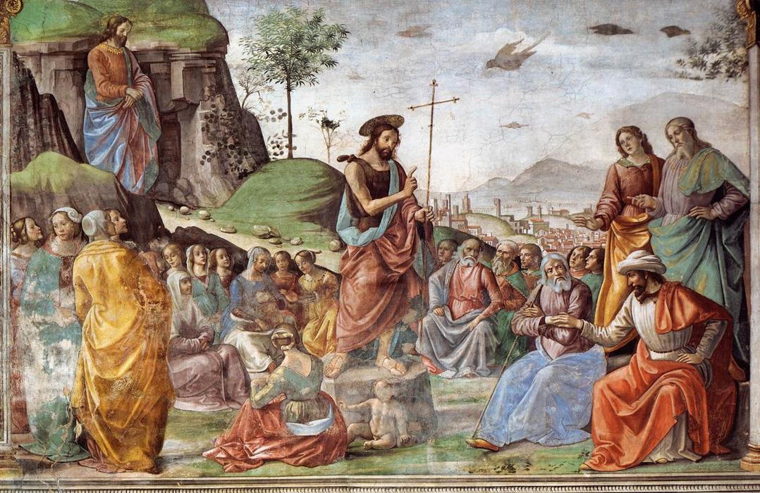 Preaching of St John the Baptist, 1486 by Domenico Ghirlandaio (1449-1494, Italy) | Famous Paintings Reproductions | WahooArt.com