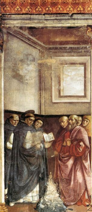 St Dominic Burning Heretical Writings, Frescoes by Domenico Ghirlandaio (1449-1494, Italy)