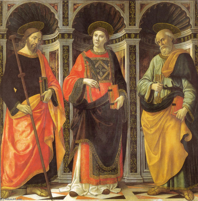 St. Stephen, St. Jacobo, St. Peter by Domenico Ghirlandaio (1449-1494, Italy)