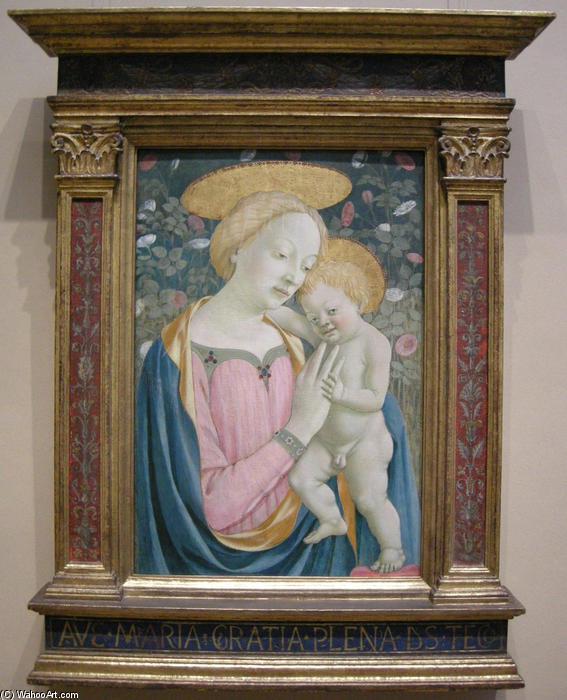 Madonna and Child, 1450 by Domenico Veneziano (1410-1461, Italy) | Famous Paintings Reproductions | WahooArt.com