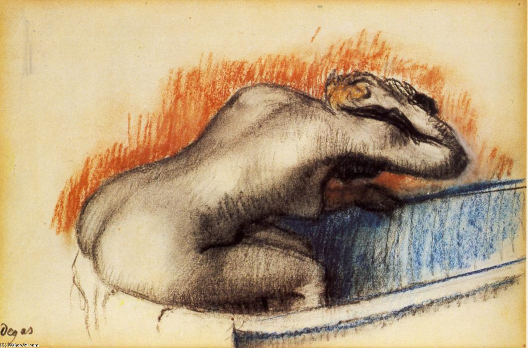 Woman washing in the bath, Pastel by Edgar Degas (1834-1917, France)