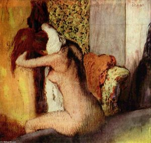Order Reproductions | After the Bath, Woman Drying Her Nape, 1895 by Edgar Degas (1834-1917, France) | WahooArt.com