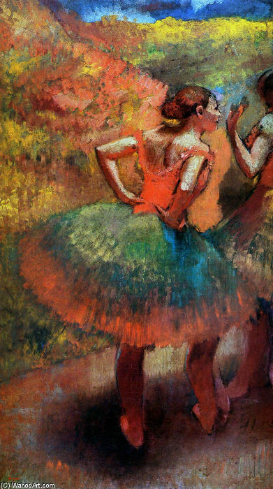 Two Dancers in Green Skirts, Landscape Scener, Oil On Canvas by Edgar Degas (1834-1917, France)