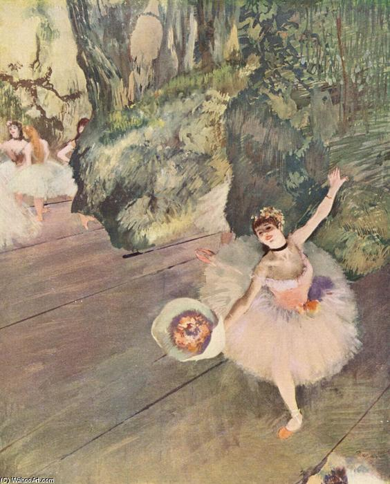 Dancer with a bouquet of flowers (The Star of the ballet), 1878 by Edgar Degas (1834-1917, France) | Paintings Reproductions Edgar Degas | WahooArt.com