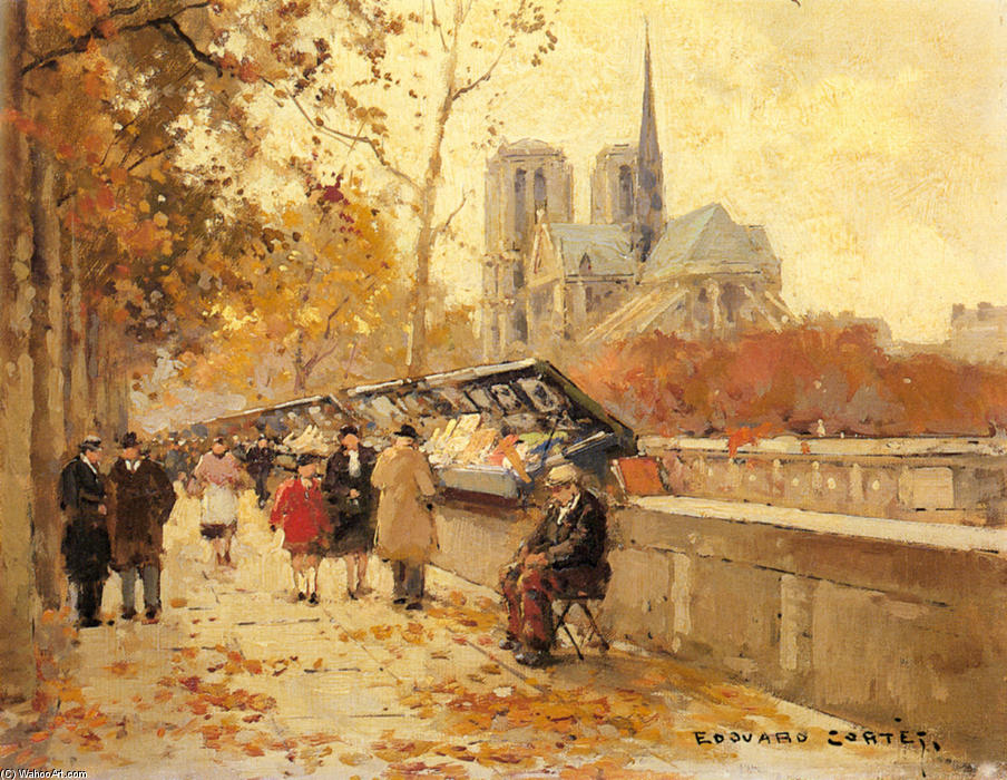 Booksellers along the Seine, Notre-Dame View by Edouard Cortes (1882-1969, France) | Museum Quality Reproductions | WahooArt.com