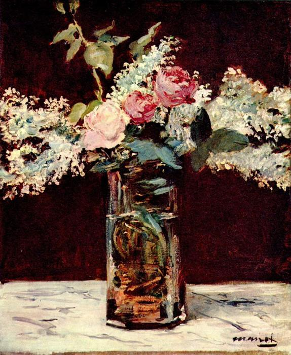 Lilac and roses, Oil On Canvas by Edouard Manet (1832-1883, France)
