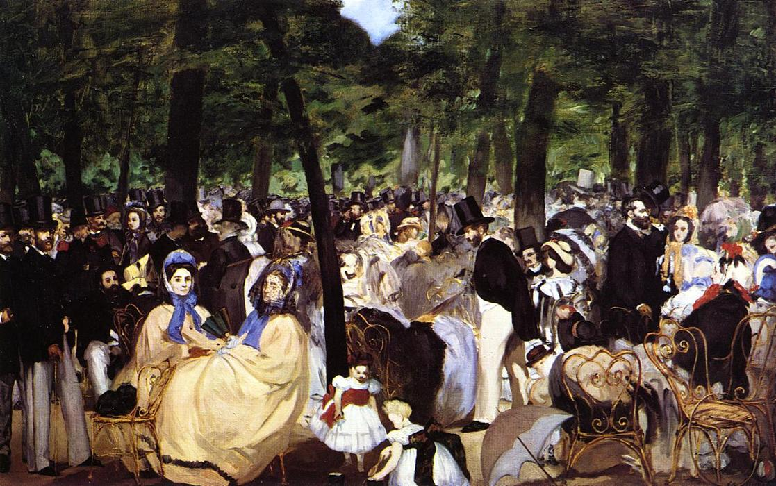Music in the Tuileries Garden, 1862 by Edouard Manet (1832-1883, France) | Art Reproductions Edouard Manet | WahooArt.com