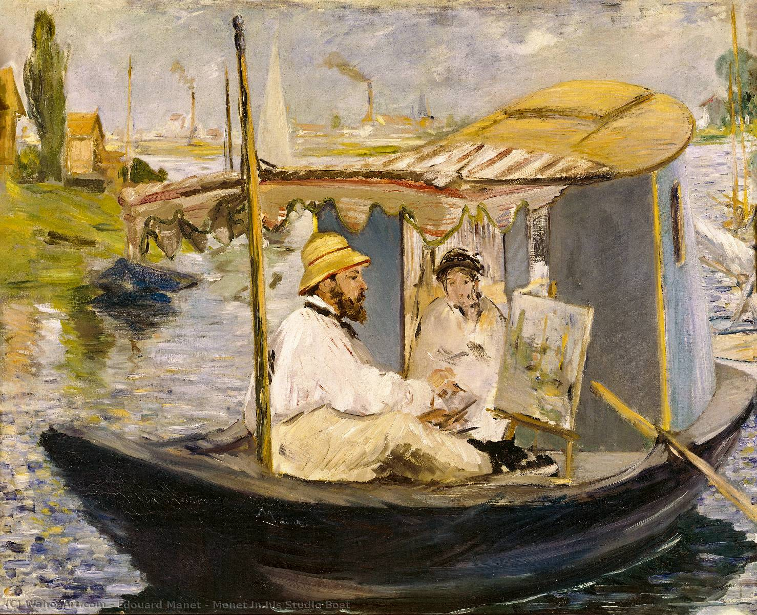 Monet in his Studio Boat, Oil On Canvas by Edouard Manet (1832-1883, France)
