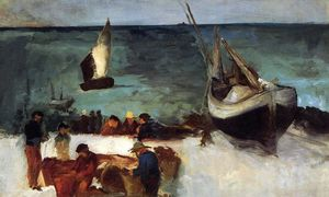 Edouard Manet - Seascape at Berck, Fishing Boats and Fishermen