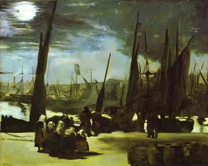 Edouard Manet - Moonlight on Boulogne Harbour