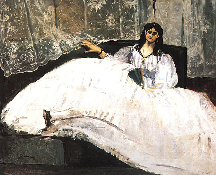 Jeanne Duval, Baudelaire's Mistress, Reclining (Lady with a Fan), 1862 by Edouard Manet (1832-1883, France) | WahooArt.com
