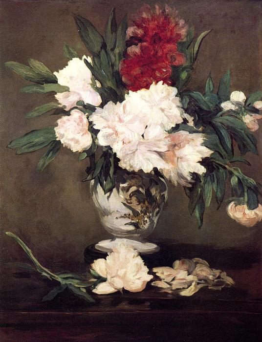 Vase of Peonies on a Small Pedestal, 1864 by Edouard Manet (1832-1883, France) | Art Reproduction | WahooArt.com