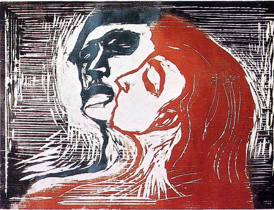 Man and Woman I, Wood by Edvard Munch (1863-1944, Sweden)