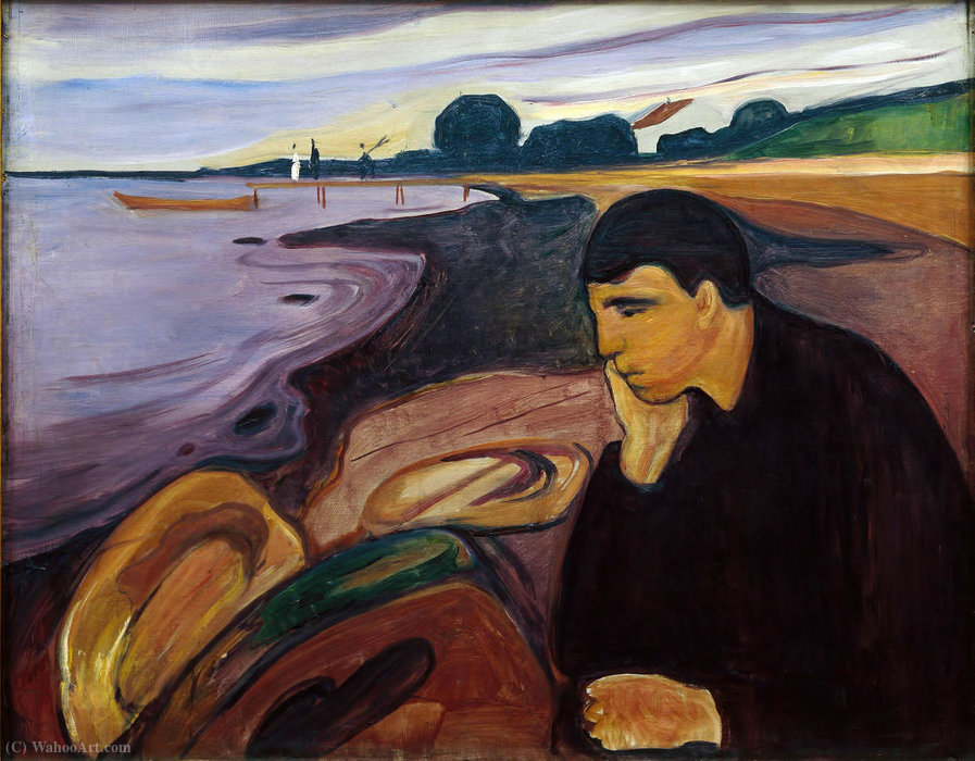 Melancholy, 1894 by Edvard Munch (1863-1944, Sweden) | Oil Painting | WahooArt.com