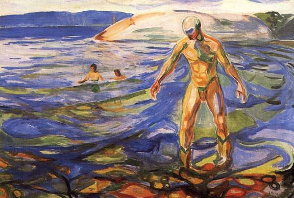 Bathing Man, 1918 by Edvard Munch (1863-1944, Sweden) | Famous Paintings Reproductions | WahooArt.com