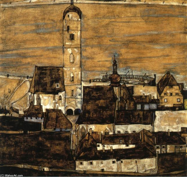 Stein on the Danube, Seen from the Kreuzberg, 1913 by Egon Schiele (1890-1918, Croatia) | Painting Copy | WahooArt.com