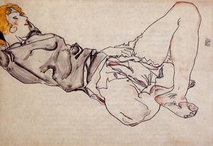 Egon Schiele - Reclining Woman with Blonde Hair