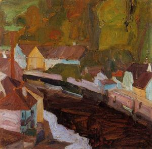 Egon Schiele - Village by the River