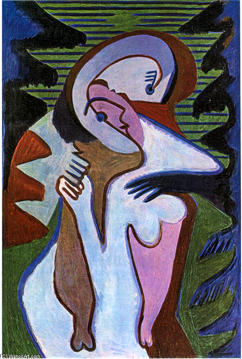 Lovers (The kiss), 1930 by Ernst Ludwig Kirchner (1880-1938, Germany)
